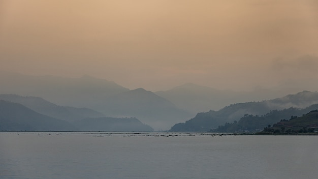 The lake fewa with cloudy scene, pokhara, nepal