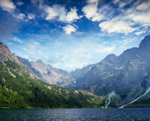 青い空に美しい白い雲の下でハルシュタット湖。