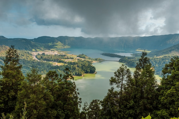 Lake in the hills on the san miguel. azores