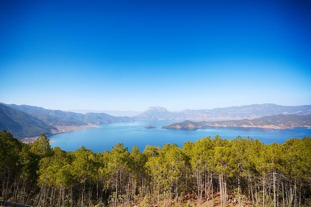 위에서 본 숲의 호수