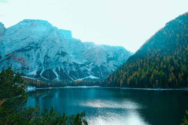 雪と木の覆われた山の真ん中にある湖