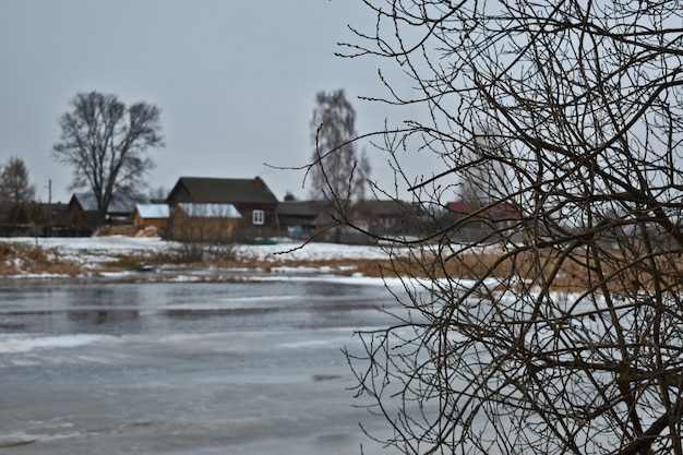 The lake is covered with ice in winter