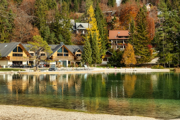 Lake jasna with emerald clear water in autumn season, splendid view in slovenian alps