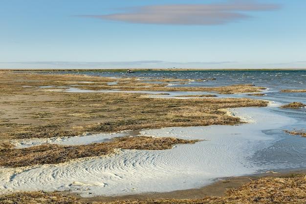 カミスリバス湖はカザフスタンの大きな塩水湖です。
