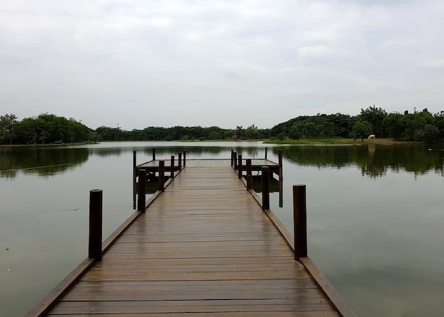 Lake landing at lake view in dim weather