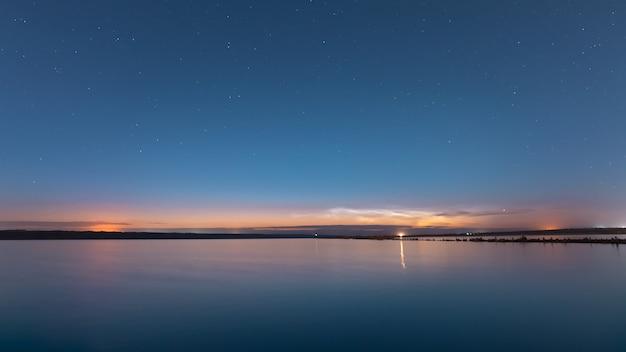 夕暮れ時の湖の風景