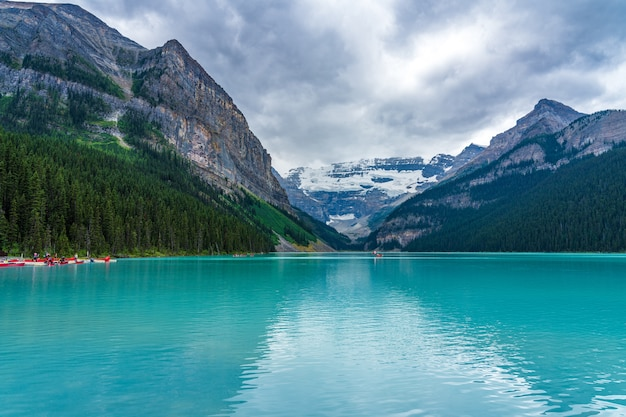 Lake louise in summer sunny day morning