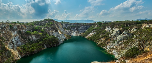 Lake in the mining mountainl of grand canyon at the kiri nakhon stone mine