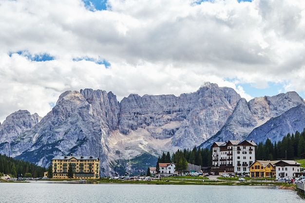 Lake misurina with city and mountains
