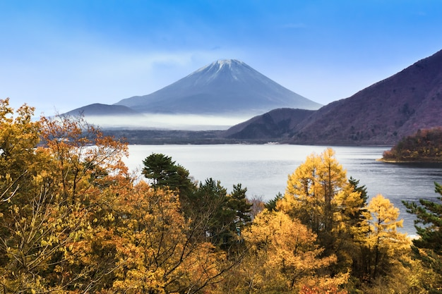 Lake motosuko in front of fuji mountain in autumn