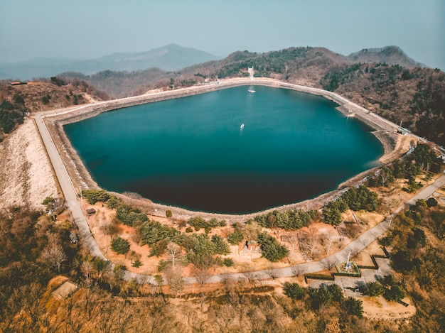 Lake on mountain, aerial drone shot in south korea