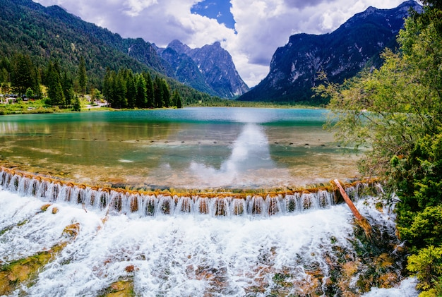 Lake between mountains. beauty world. italy europe