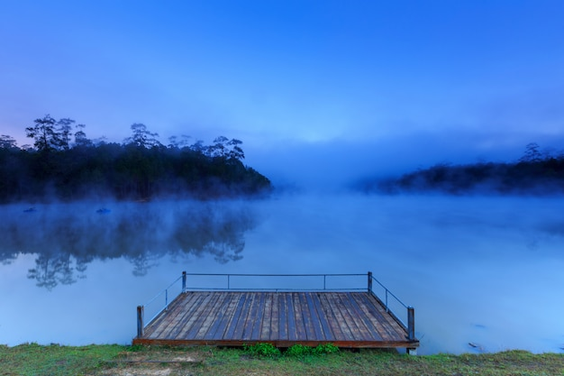 Lake and pine forest on morning time at chiang mai, thailand