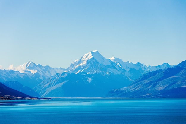 Lake pukaki and mt. cook as a background