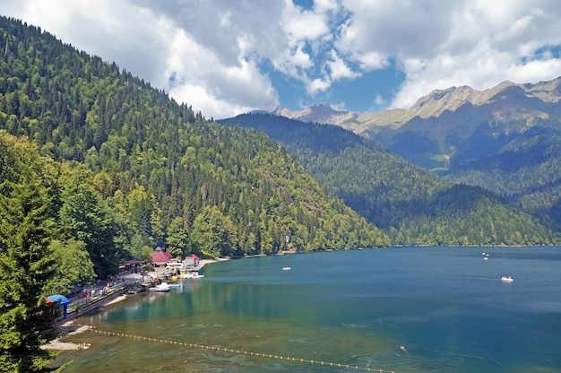 Lake ritsa in mountains in abkhazia in a summer sunny day