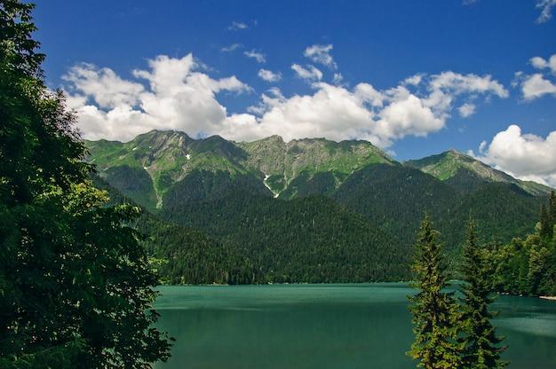 Lake ritsa at mountains in abkhazia