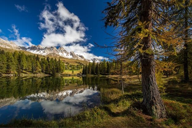 Озеро в окружении скал, покрытых снегом, и леса с деревьями, отражающимися в воде.