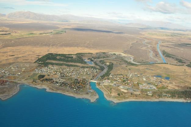 Lake tekapo, new zealand landscape from aerial view