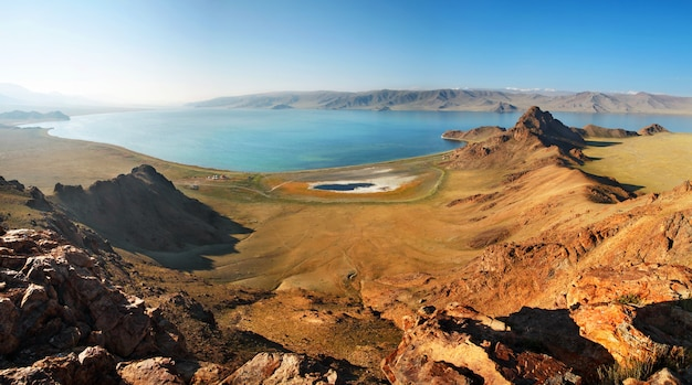 Lake tolbo nuur in mongolia, panoramic view