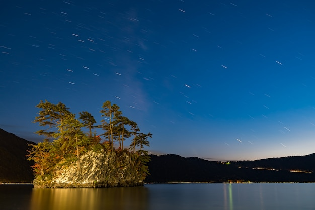 Lake towada with milky way