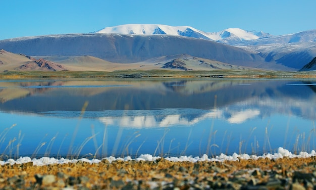 Lake with beautiful reflection in the mountains of mongolia