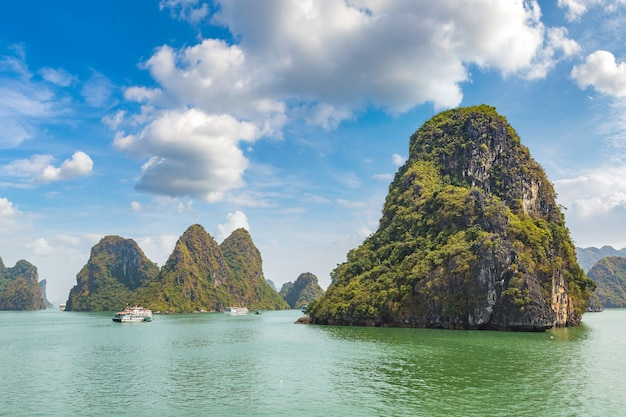 Lake with big mountains and blue sky with clouds in thailand