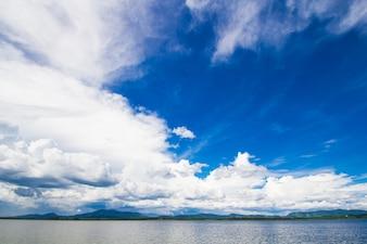 Lake with blue sky