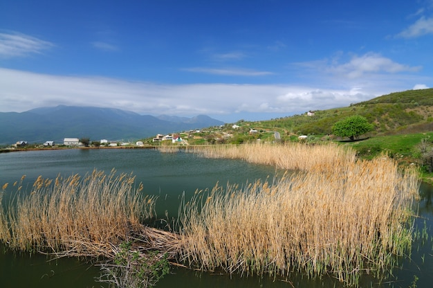 Lake with muddy water and growing reeds, blue sky and small village among the mountains