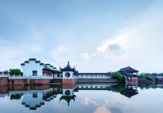 Lakeside ancient buildings