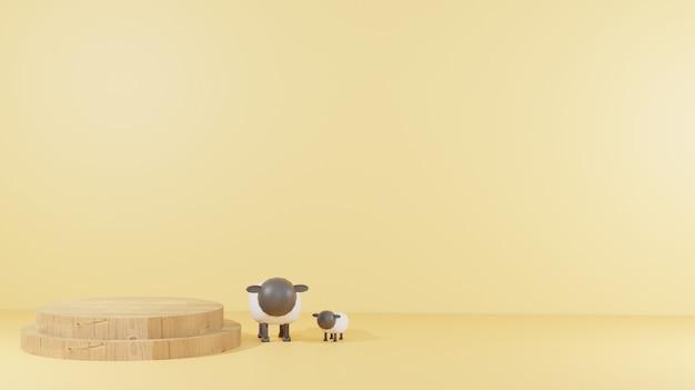 Ягненок с деревянным подиумом на песчаном полу подходит для 3d-рендеринга фона