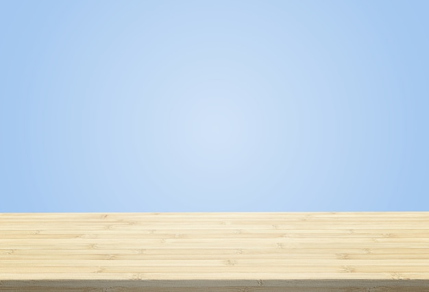 Laminate table top on pastel blue background can put or montage your products