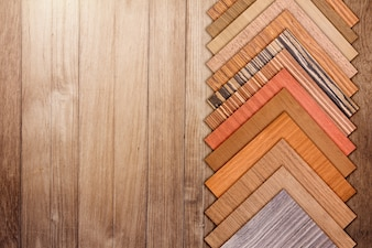 Laminate wood floor material sample for interior furniture design