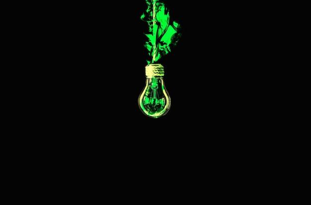 Лампочка лампы висит на веревке. зеленый огонь внутри. концепция новой идеи. изолированные на черном фоне.