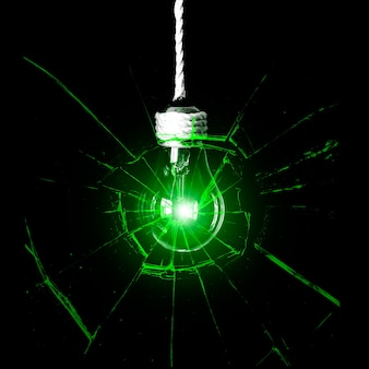 Lamp bulb hanging on the rope. new idea concept. green shadows.
