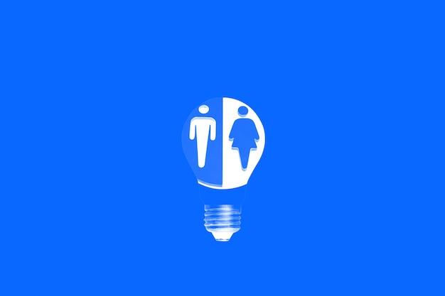 青い背景の電球。新しいアイデアのコンセプト。男性と女性の異なる側面の画像。フェミニズム。