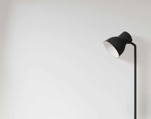 Lamp and empty white wall