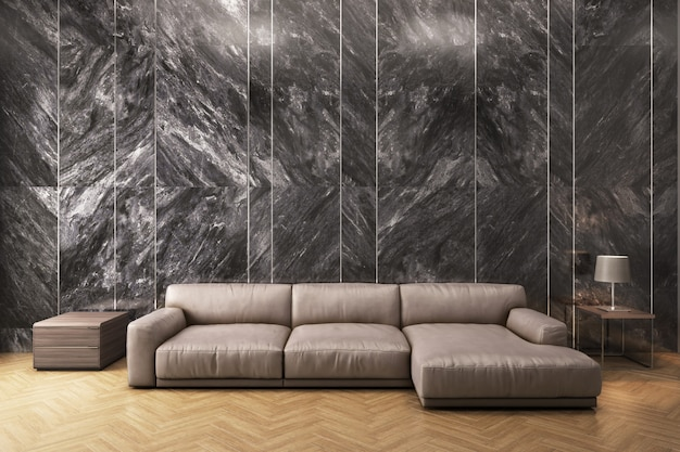 Lamp near sofa and carpet with black marble wall background