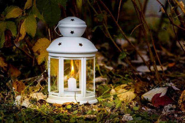 夕方の秋の庭のキャンドルとランプ