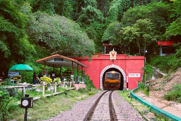 Lamphun thailand trains are running through the khun tan tunnel at khun tan railway statio