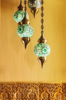 Lamps in arab restaurant