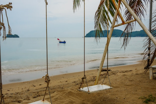 Lamsing beach beautiful landscape at  with swing and boat