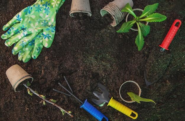 Land and gardening supplies. garden. selective focus.