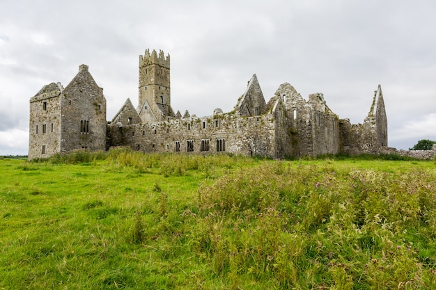 Landascapes of ireland. ruins of friary of ross in galway county