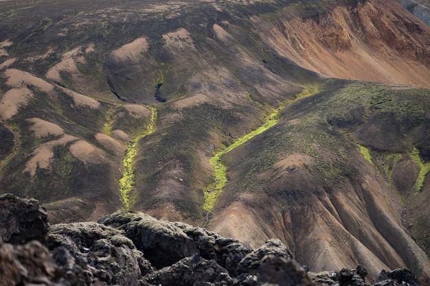 Ландманналаугар разноцветные горы на туристической тропе лаугавегур исландия