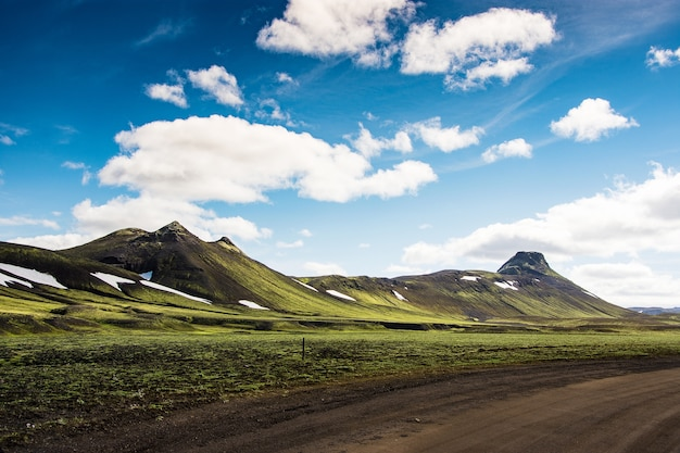 Landmannalaugar in iceland. green mountain and clear blue sky background with the black gr
