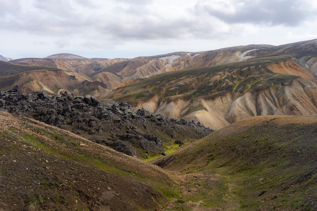 Landmannalaugar valley iceland colorful mountains on the laugavegur hiking trail the combination of ...