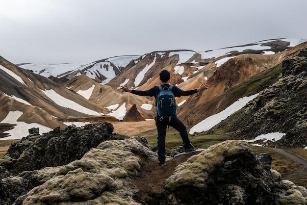 Landmannalaugarアイスランドハイランドでの旅行者のハイキング