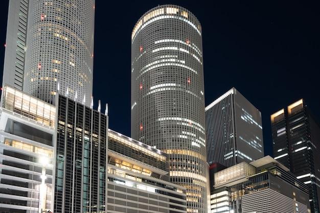 Landmark buildings in nagoya city at night in nagoya, japan