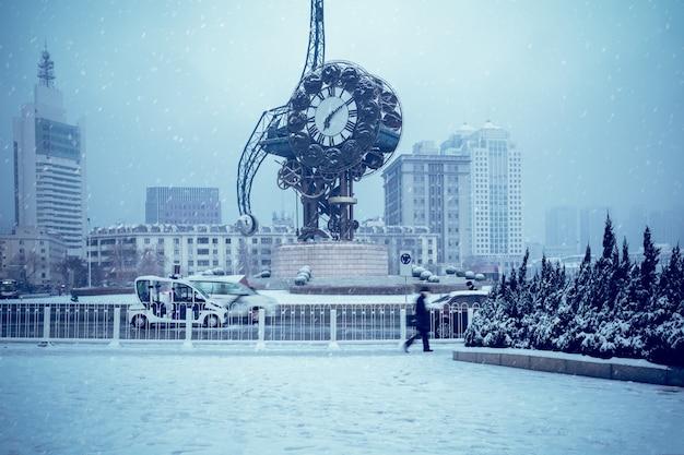 Landmark buildings in tianjin: century bell, snow scene,china