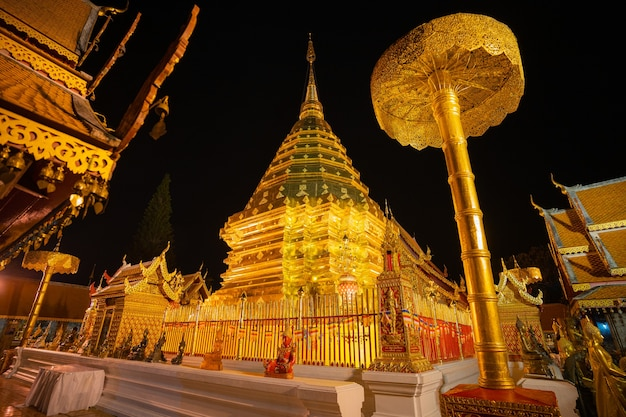 Landmark in chiang mai thailand wat phra that doi suthep gold pagoda and golden buddhist temple at night view time
